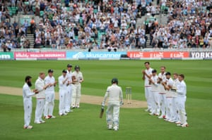 Michael Clarke walks to the crease at The Oval.