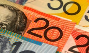 Close-up of Australian currency notes