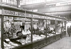 A Marks & Spencer penny bazaar in a covered market, circa 1900