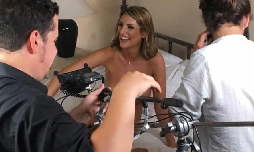 Adult performer August Ames on the set of a BaDoink virtual reality sex therapy shoot.