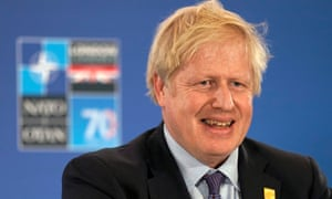 Boris Johnson holding a press conference after the Nato summit.