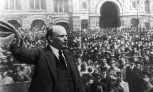 Lenin addressing a crowd in Red Square, Moscow, October 1917.