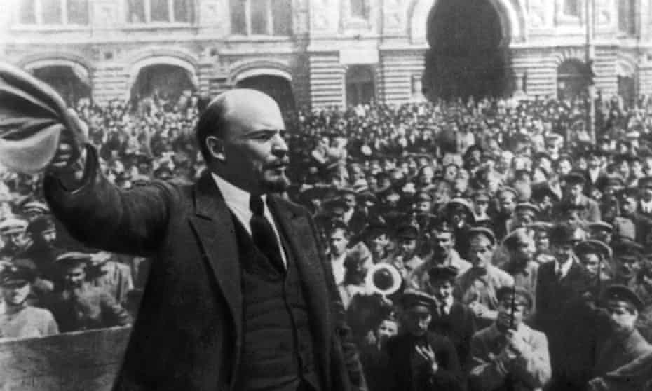 Lenin addressing a crowd in Red Square in October 1917.