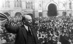 Lenin addresses a Moscow rally in October 1917.