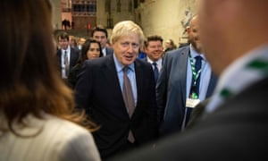 Boris Johnson talks to newly elected Conservative MPs in Westminster Hall