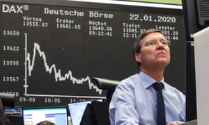 A trader in Frankfurt as stocks hit a record high last month.