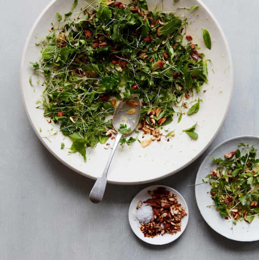 Anna Jones' herb salad with crisp garlic.