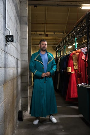 Kevin Kaila in his new blue floor length jacket.
