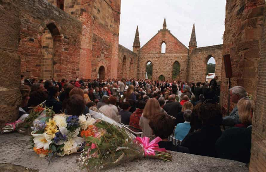 Three hundred people attend a memorial service in the convict-built church at Port Arthur on the first anniversary of the massacre