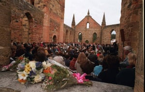 A memorial service held in Port Arthur, Tasmania, on the first anniversary of the 1996 massacre.