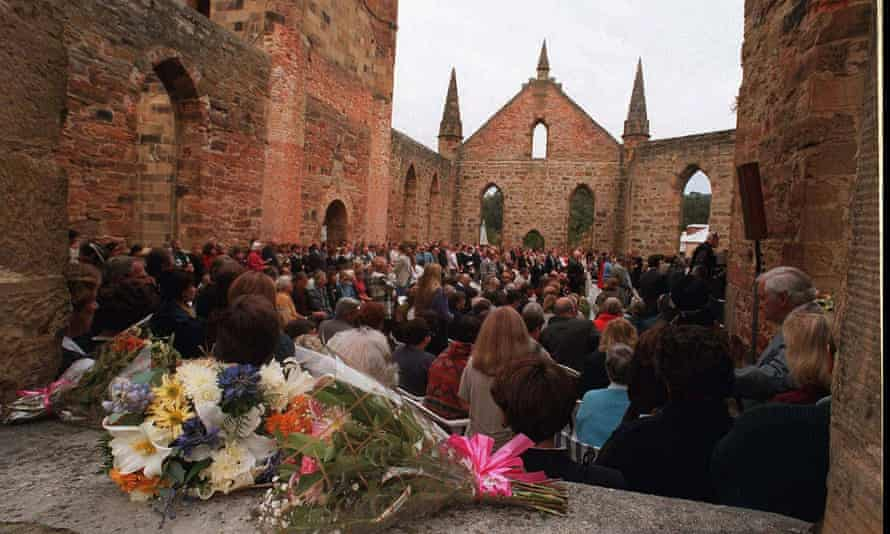 Three hundred people attend a memorial service at Port Arthur in 1997.