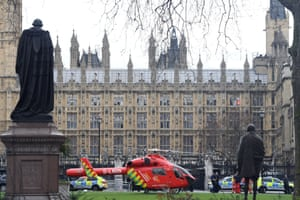 An Air Ambulance outside the Palace of Westminster after sounds similar to gunfire were heard