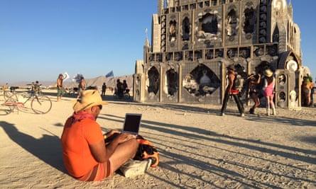 Steven Thrasher (-Thrasher-), supplied by Steven Thrasher Burning Man 2015