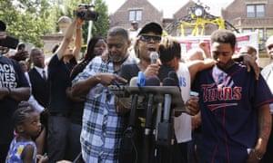 Diamond Reynolds speaks at a protest against the killing of her boyfriend, Philando Castile.