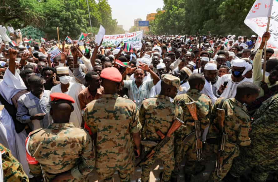 Protesters said they would remain in the streets until the transitional government was dissolved.