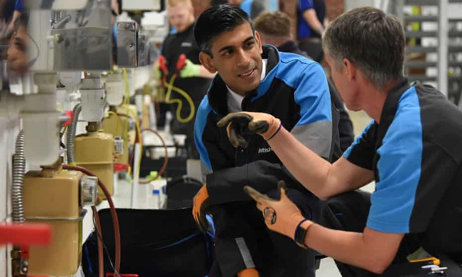 Chancellor Rishi Sunak visiting to a British Gas training academy in Leicestershire recently.
