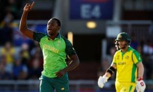South Africa's Kagiso Rabada celebrates taking the wicket of Australia's Glenn Maxwell.