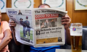 A man reading the Northern Echo newspaper.