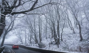 Snow-covered trees near the village of Newhey near Rochdale
