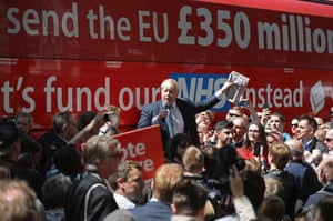 Boris Johnson delivers a speech for the leave campaign in York in front of the campaign bus