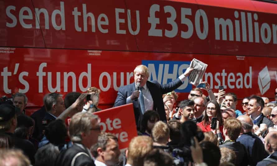 Boris Johnson delivers a speech in front of the Vote Leave bus emblazoned with the pledge to fund the NHS.