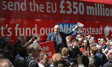 Boris Johnson speaks in front of the famous Brexit battle bus in York during the Vote Leave campaign tour of the UK in May 2016.