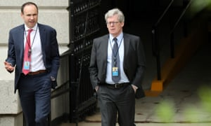 The White House legal counsel, Emmet Flood, right, called the Mueller report 'part 'truth commission' report and part law school exam paper'.