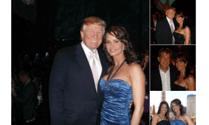 Karen McDougal's Twitter account showing a photo of her with Donald Trump in September 2005. The post has since been deleted.
