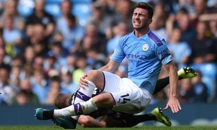 Manchester City's defender Aymeric Laporte was hurt against Brighton.
