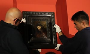 Rembrandt's Study of the Head and Clasped Hands of a Young Man as Christ in Prayer is installed at the Louvre Abu Dhabi.