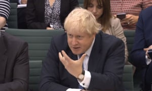 Boris Johnson gives evidence to the foreign affairs select committee at Portcullis House, London.