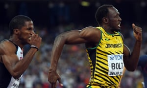 Jamaica's Usain Bolt on his way to winning the semi-final of the men's 100 metres.