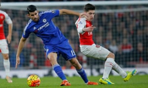 Chelsea's Diego Costa peels away from his marker.
