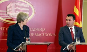 Theresa May with the Macedonian prime minister, Zoran Zaev at their press conference.