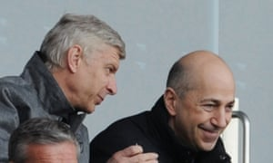 Ivan Gazidis, Arsenal's chief executive, right, said he regretted the divisions between the club and its fanbase last season, which included the debate around the future of the manager, Arsène Wenger, left.