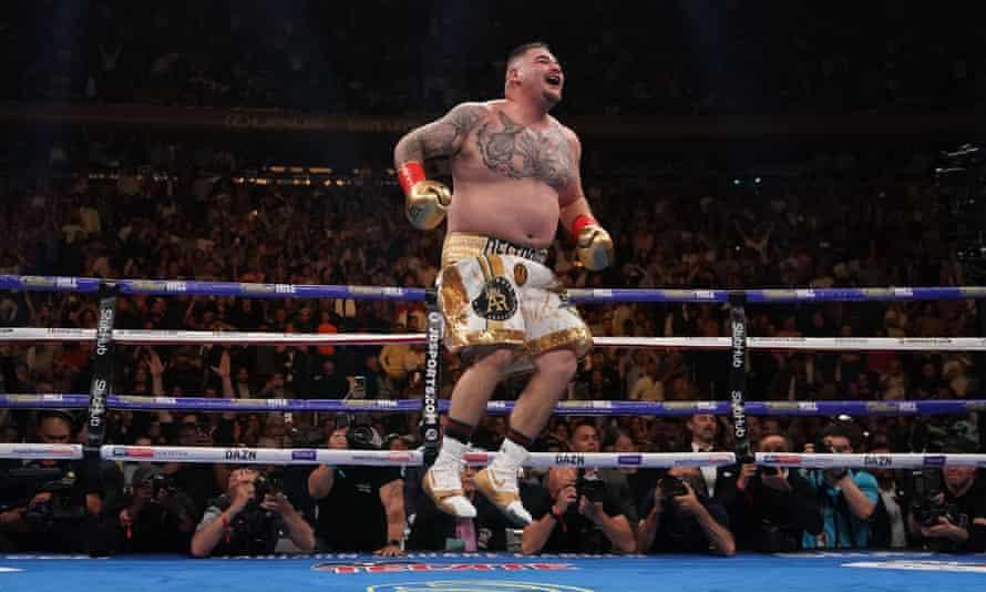 Andy Ruiz of the US celebrates after knocking down Anthony Joshua.