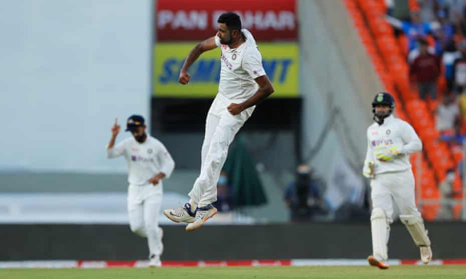 Ravichandran Ashwin of India celebrates the wicket of Ollie Pope.