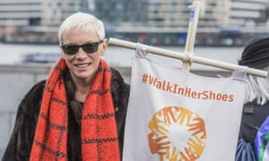 Singer Annie Lennox at a 'Walk in Her Shoes' march in London on 6 March