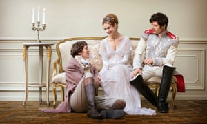 The 'peerlessly gauche' Paul Dano with Lily James and James Norton in War and Peace