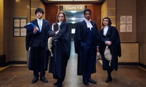 Cut-throat comedy ... the four trainees battling it out for chambers in Defending the Guilty.
