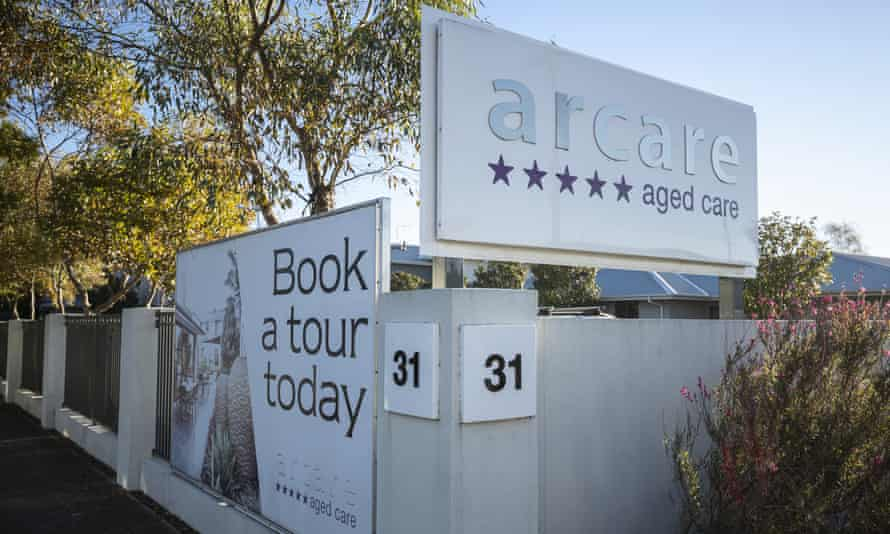 sign for arcare aged care facility in melbourne with a sign saying 'Book a tour today'
