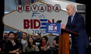 Joe Biden speaks during a Nevada caucus day event at IBEW Local 357 on 22 February 2020 in Las Vegas, Nevada.