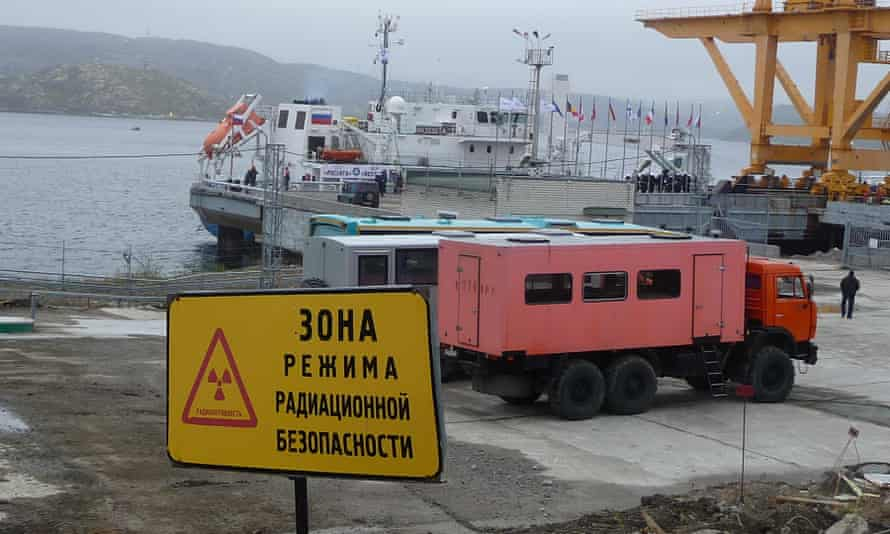 The Rossita gets ready to disembark with the first of Andreyeva Bay's Soviet-era spent nuclear fuel to take it to a safer storage