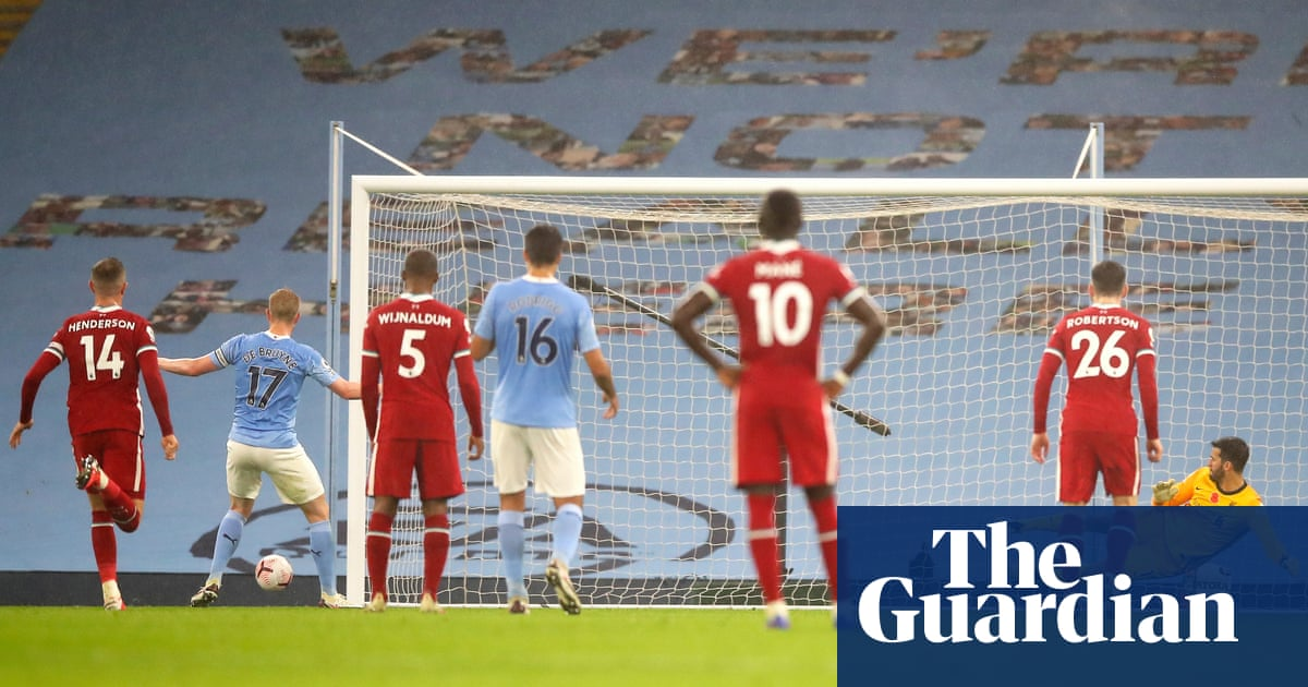 Kevin De Bruyne drags penalty wide in Manchester Citys draw with Liverpool