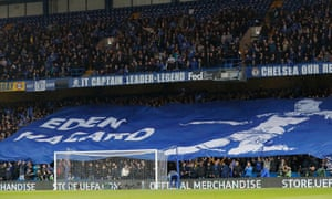 Chelsea fans with an Eden Hazard banner before kick-off.