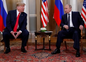 Trump meets Vladimir Putin in Helsinki, last July.