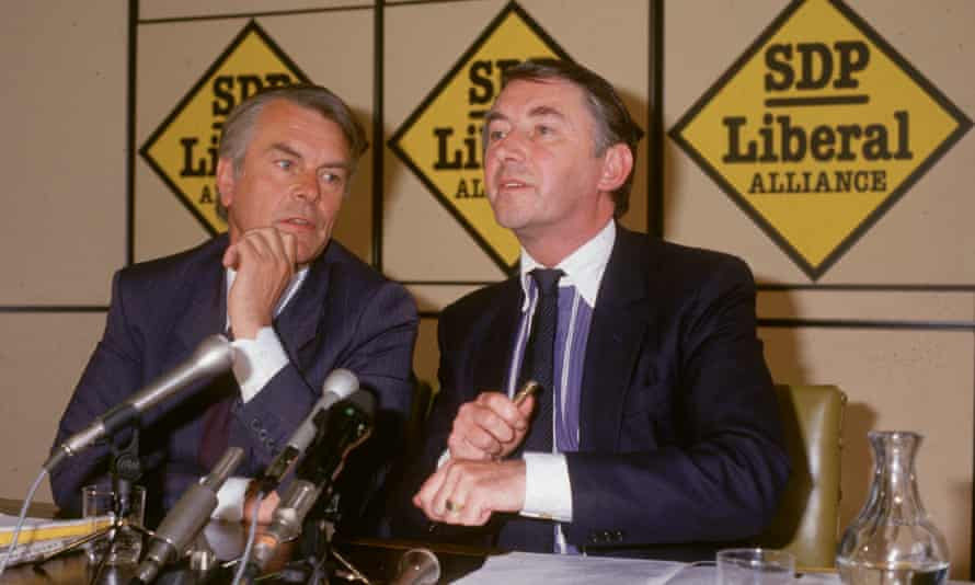 David Owen (left) and David Steel, leaders of the SDP-Liberal Alliance, at the launch of the 1987 Alliance election campaign.