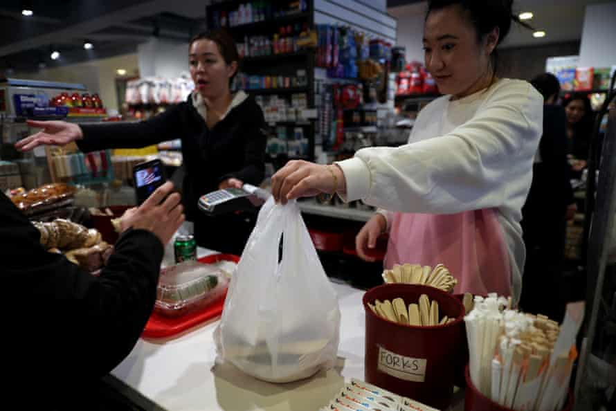 The state law banning single-use plastic bags comes into effect on Sunday.