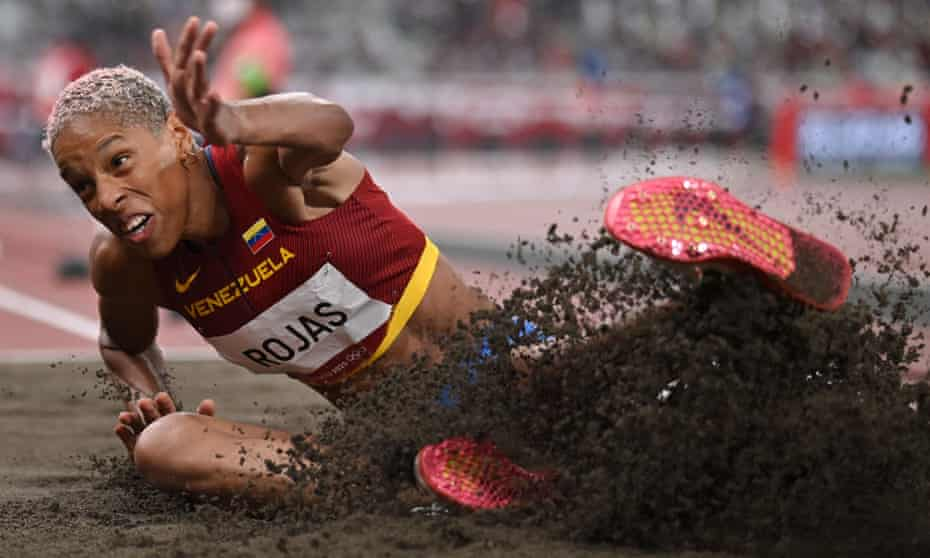 Venezuela's Yulimar Rojas on her way to the gold medal in the women's triple jump final.