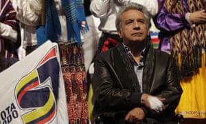 President Lenin Moreno attends his final campaign rally ahead of this weekend's constitutional referendum in Quito on Wednesday.